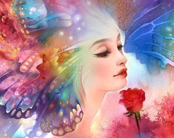 Butterfly Kisses. rainbow love rose valentines kiss lover art print