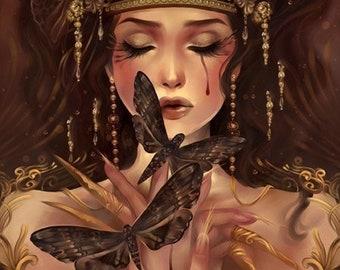 Moth Eater. fantasy butterfly fairy brown gold tiara art print