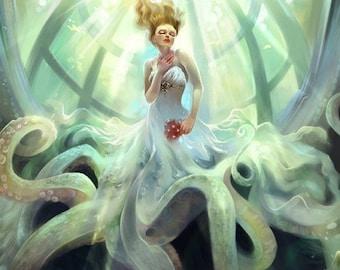 Ascension. Octopus Bride Fantasy Steampunk art print
