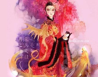 Enchantress. chinese asian koi fantasy japanese art print