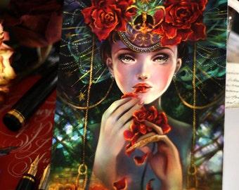 Postcard. Rose Eater. fantasy mail art rose gothic twilight