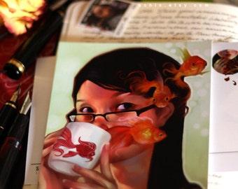 Postcard. My Mug. fantasy mail art goldfish tea cute asian