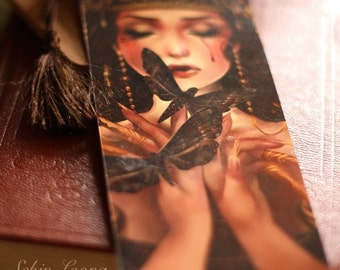 Signed bookmark. Moth Eater. goth tiara princess