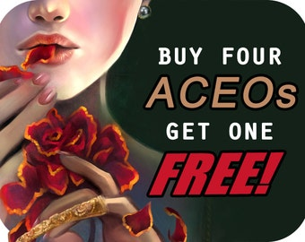 Buy four get one ACEO art card or bookmark free