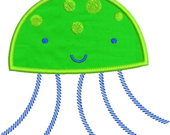 Applique Jellyfish Jelly Fish Machine Embroidery Design 4x4 and 5x7 Instant Download