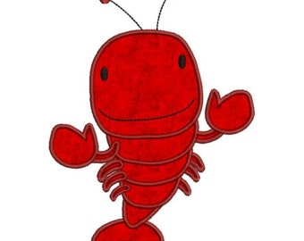Applique Lobster Machine Embroidery Designs 4x4 & 5x7 Instant Download Sale
