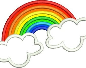 Applique Rainbow and Clouds Machine Embroidery Designs 4x4 & 5x7 Instant Download Sale