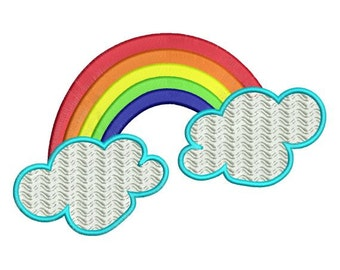 Rainbow and Clouds Machine Embroidery Designs 4x4 & 5x7 Instant Download Sale