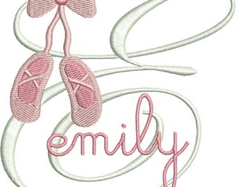 Ballet Slippers Shoes Monogram Fonts Machine Embroidery Designs - 4x4 Hoop Instant Download Sale