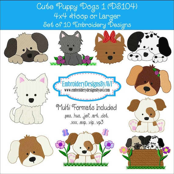 Cute Puppy Dogs Animals Machine Embroidery Designs Instant Etsy