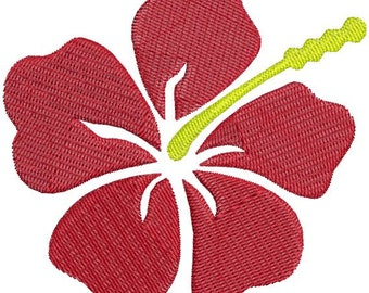 Hawaiian Hibiscus Flower Machine Embroidery Design 4x4 and 5x7 Instant Download