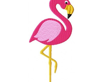 Pink Flamingo Bird Tropical with fill Machine Embroidery Design 4x4 and 5x7 Instant Download