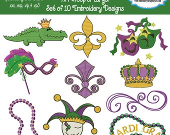 Mardi Gras Party Parade Festival Machine Embroidery Designs Set of 10 Instant Download Sale