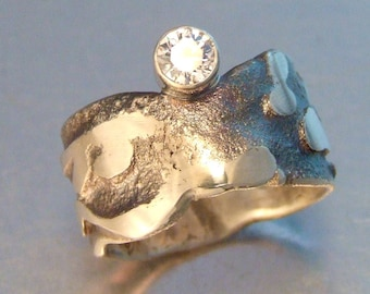 FUSE CZ RING Oxidized Sterling Silver Distressed Chunky Band Ring with Sparkly 5mm White Cubic Zirconia Rustic Unique Elegant Statement Ring