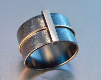 ELEMENT FUSE RING Men/'s Band Ring Men/'s Wedding Ring Mixed Metal Jewelry Sterling Silver Bronze Unique Wedding Ring Modern Masculine Ring