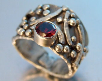 ARCHAIC RING Unique Sterling Silver Tapered Band Ring with Vibrant Red GARNET Gemstone Alternative Wedding Band Textured and Oxidized Ring