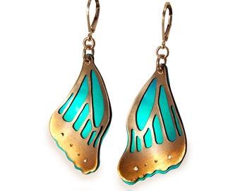 TEAL BUTTERFLY WING Earrings Sterling Silver Anodized Niobium Statement Earrings Unique Jewelry Mixed Metal Jewelry Riveted Dangle Earrings