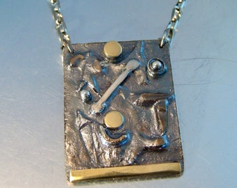 MIXED METALS INDUSTRIAL Pendant Masculine Chunky Rustic Necklace Sterling Silver Copper Brass Steel One of a Kind Statement Pendant ManBling
