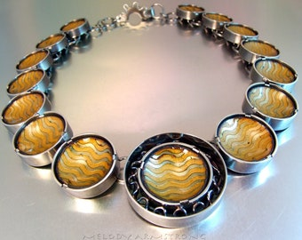 BASSE TAILLE Neckpiece WAVE Statement Necklace Elegant Jewelry One of a Kind Necklace Haute Couture Art Jewelry Gold Enamel Wave Texture