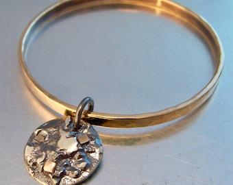MAGMA BANGLE BRONZE Bangle Statement Bracelet Dangle Bracelet Bangle with Dangle Charm Bracelet Silver Charm Mixed Metal Bangle Rustic