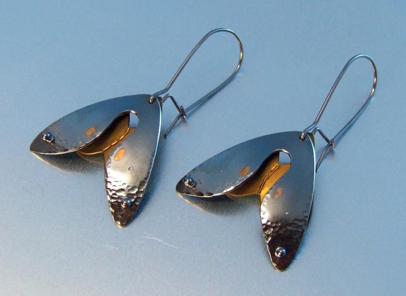 MOTH EARRINGS sterling silver earrings anodized niobium dangle image 0