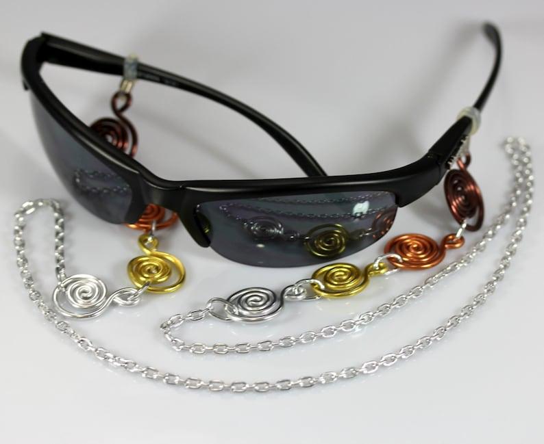 Eye Glass Holder - Mixed Metals Cascading Spirals