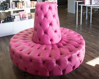 Circle Sofa Pink Round Bench Banquette Tufted Circular Booth Lobby Round Chair Sofa Lobby Seat Round Tufted Sofa Round Banquette Seating