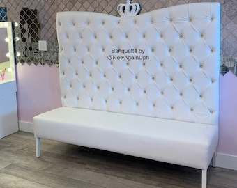 White Tufted Banquette with Rhinestones Upholstered Custom Bench Upholstered Bench Banquette Booth Custom Booth Banquette Tufted Bench