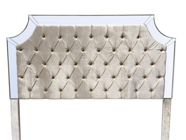 Marfil rey tamaño cabecera cabecera tapizada copetudo perla | Etsy