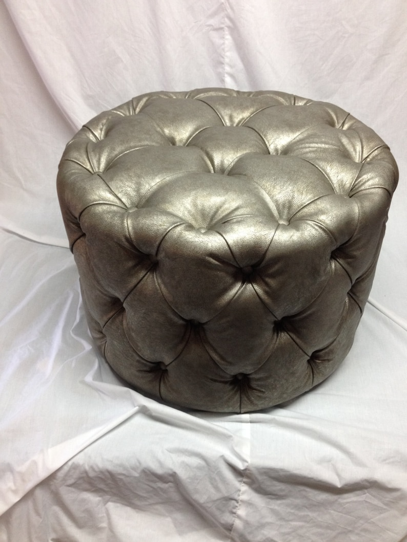 Round Tufted Ottoman Upholstered Ottoman Coffee Table ...