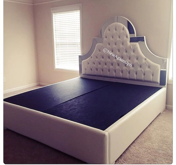 white faux leather king size tufted upholstered bed with etsy. Black Bedroom Furniture Sets. Home Design Ideas