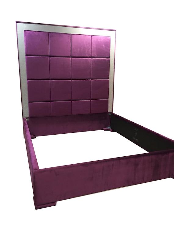 purple velvet bed extra tall headboard purple velvet king size etsy. Black Bedroom Furniture Sets. Home Design Ideas