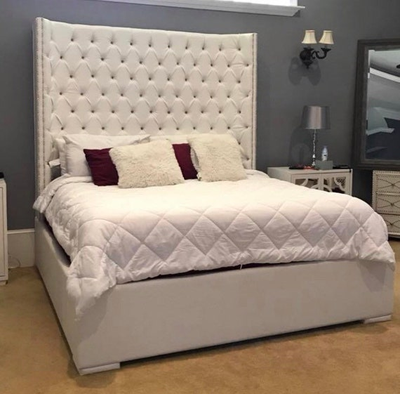King Size Tufted Bed Luxurious Wingback Tufted Upholstered Bed Etsy