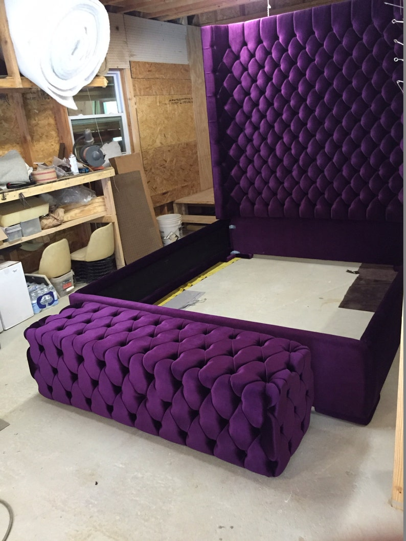 Queen Size Bed.Wingback Tufted Bed King Size Queen Size Full Size Wing Back Tufted Bed Upholstered Bed Extra Tall Headboard Purple Velvet Queen Size Bed