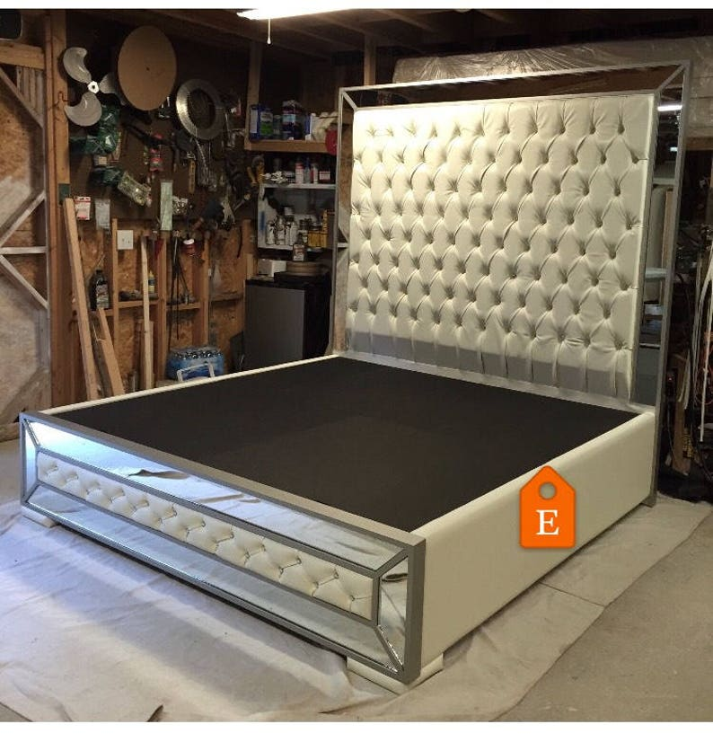 White Faux Leather King Size Platform Bed and Matching Footboard with Mirrors