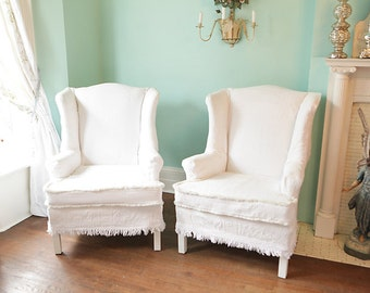 Awesome Shabby Chic Wingback Chair S Vintage Bedspread Slipcover Pair Matelasse  White Cottage Prairie Custom Order