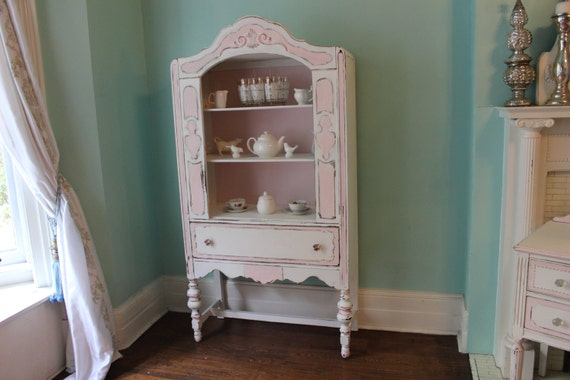 Items Similar To Antique China Cabinet Pink White Shabby