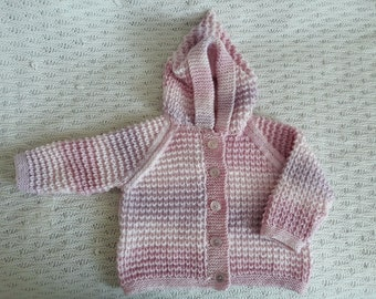 Baby Hoodie, hand knitted, 6-12 months