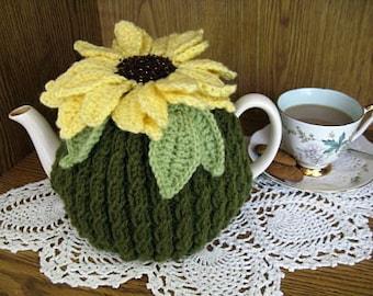 Digital Pattern, Sunflower Teacosy, knit, crochet PDF