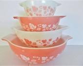 Pink Pyrex Bowl Set, Gooseberry Pyrex Bowl Set, Pink Gooseberry Set, Retro Pyrex Set, Retro Pink Bowls