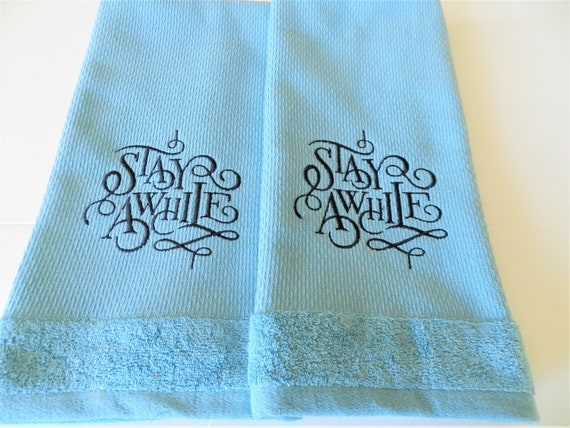 Nos Dkny Towels Blue Stay Awhile Rustic Kitchen Etsy