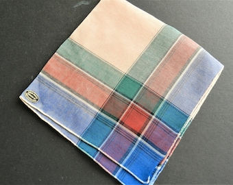 NOS Blue Plaid Hankie, Blue Handkerchief, Pink  Hankie, Switzerland Hankie, Teal Plaid Hankie, FREE USA Shipping
