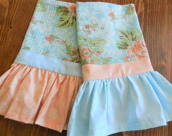 NEW April Cornell Towels, Peach Rose Towels, Ruffle Towels, Aqua Towels, New Towels, Romantic Towels,, April Cornell Towels