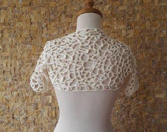 SALE Ivory Crochet Shrug / Any Season - Ivory shrug, Wedding Shrug, Bridal Shrug, Wedding gown, Bredismaid Shrug, Wedding Capelet, Cotton