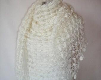 Almond Ivory  Mohair Bridal Triangle Shawl, Bridesmaid Shawl, wedding shawl, wedding accessories, bride shawl, bridal shawl, weeding,