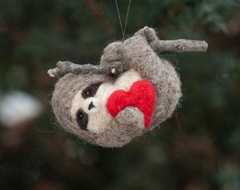 Sloth with Heart Ornament - Needle Felted