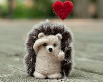 Needle Felted Hedgehog - Holding Heart Balloon