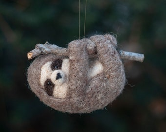 Sloth Ornament - Needle Felted