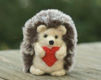 Needle Felted Hedgehog - Holding Heart
