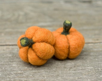 Needle Felted Pumpkin - Set of Two